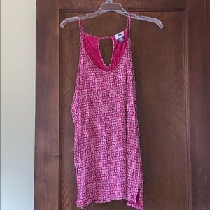 Pink and white keyhole back tank. Old navy xxl